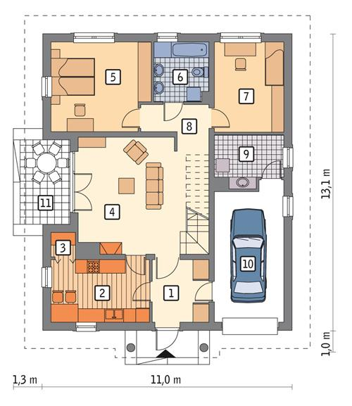 Rzut parteru POW. 110,0 m²