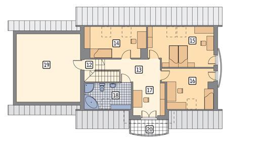 Rzut poddasza POW. 127,5 m²