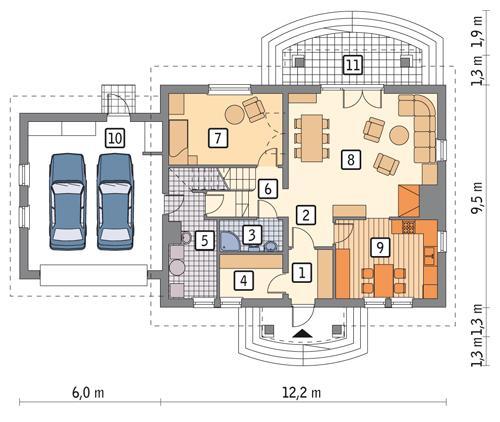 Rzut parteru POW. 128,1 m²