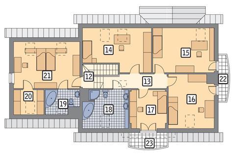Rzut poddasza POW. 135,8 m²