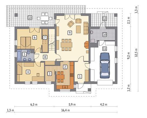 Rzut parteru POW. 130,7 m²