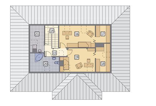 Rzut poddasza POW. 76,8 m²