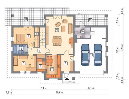 Rzut parteru POW. 147,8 m²