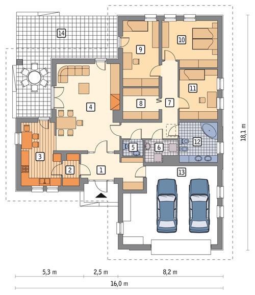 Rzut parteru POW. 167,1 m²