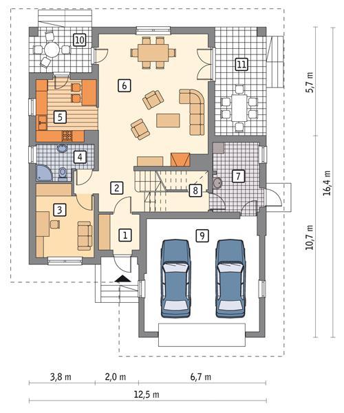 Rzut parteru POW. 126,4 m²