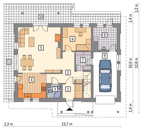 Rzut parteru POW. 101,8 m²