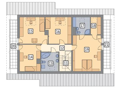 Rzut poddasza POW. 134,1 m²