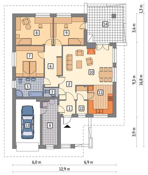 Rzut parteru POW. 140,9 m²