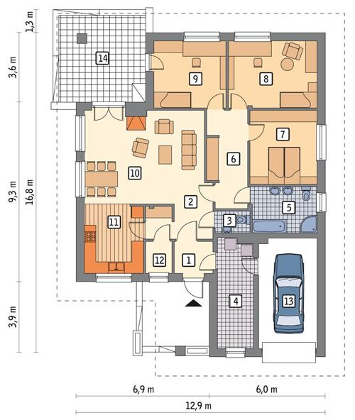Rzut parteru lustro POW. 140,9 m²