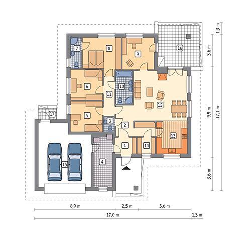 Rzut parteru POW. 174,1 m²