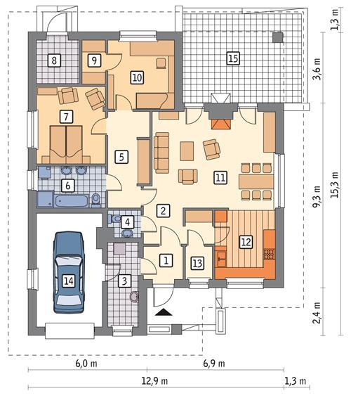 Rzut parteru POW. 126,8 m²