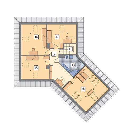 Rzut poddasza POW. 140,8 m²