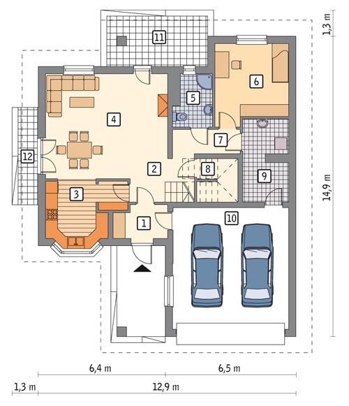 Rzut parteru POW. 120,4 m²