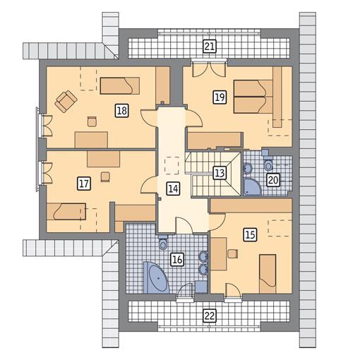 Rzut poddasza POW. 131,8 m²