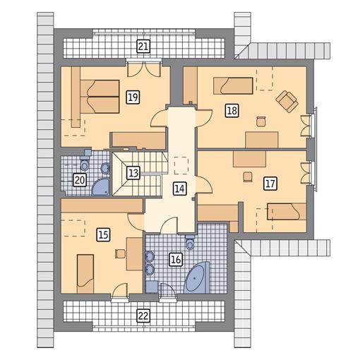 Rzut poddasza lustro POW. 131,8 m²
