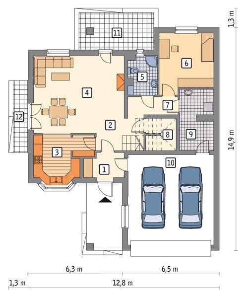 Rzut parteru POW. 120,6 m²