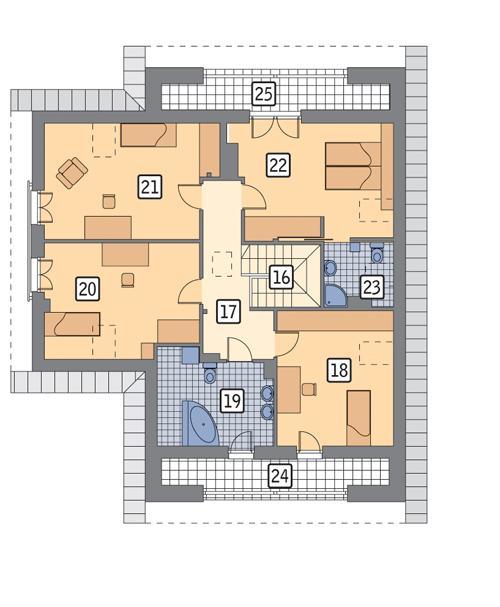Rzut poddasza POW. 131,5 m²