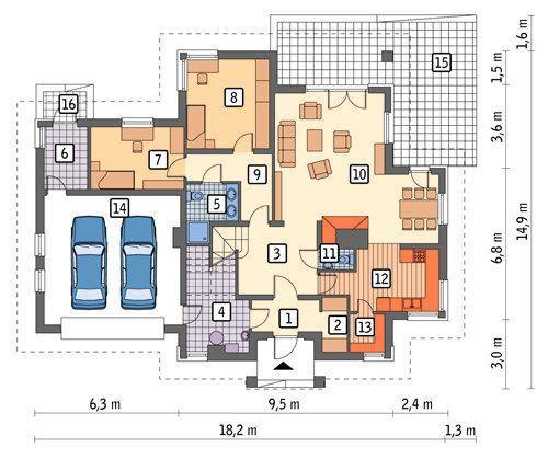 Rzut parteru POW. 154,3 m²