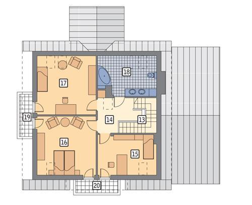 Rzut poddasza POW. 92,4 m²