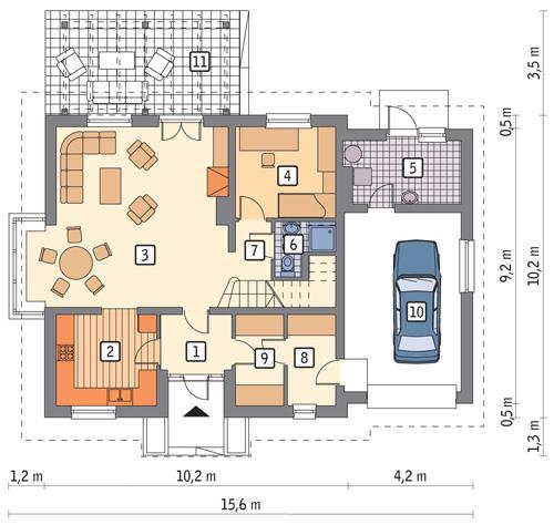 Rzut parteru POW. 109,4 m²
