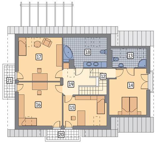 Rzut poddasza POW. 121,2 m²