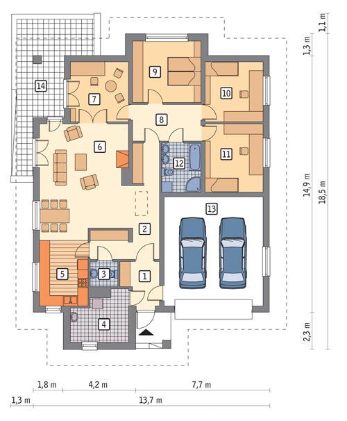 Rzut parteru POW. 173,1 m²