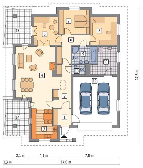 Rzut parteru POW. 165,5 m²