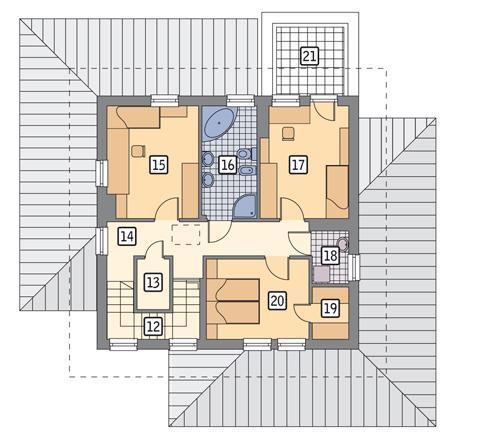 Rzut piętra POW. 74,9 m²