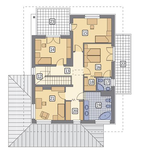 Rzut piętra POW. 112,8 m²