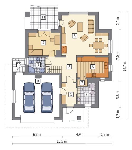 Rzut parteru POW. 116,7 m²