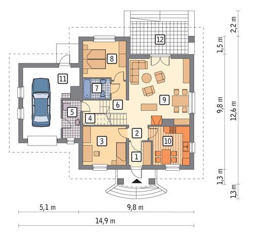 Rzut parteru POW. 108,1 m²
