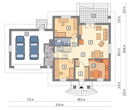 Rzut parteru POW. 127,1 m²
