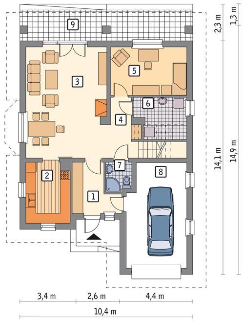 Rzut parteru POW. 98,2 m²