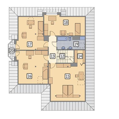 Rzut poddasza POW. 133,1 m²