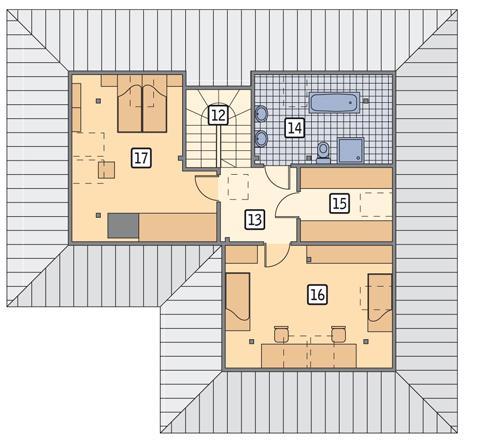 Rzut poddasza POW. 76,7 m²