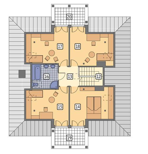 Rzut poddasza POW. 107,8 m²
