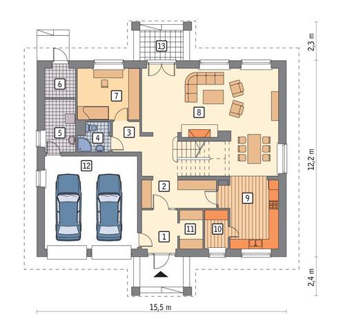 Rzut parteru POW. 147,2 m²