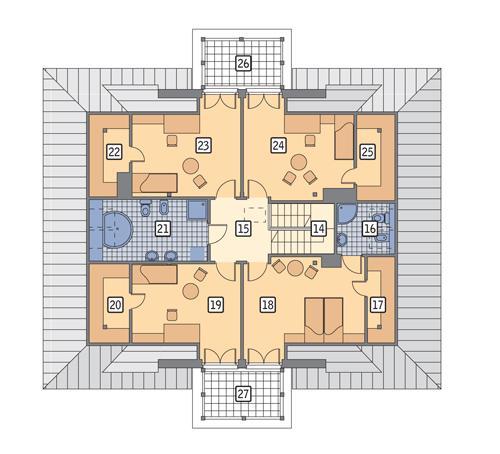 Rzut poddasza POW. 134,0 m²