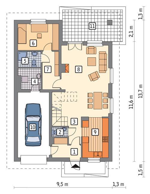 Rzut parteru POW. 93,5 m²