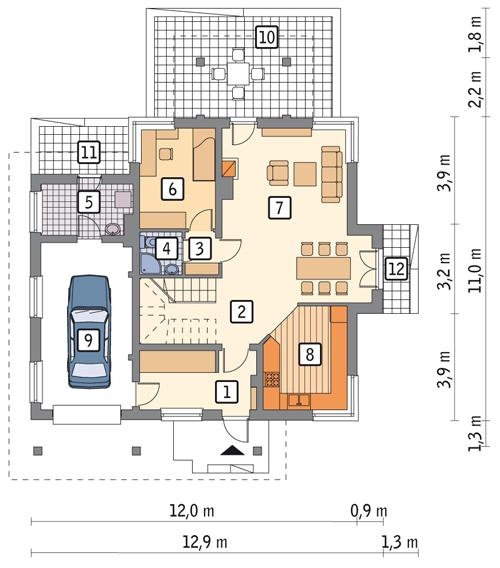 Rzut parteru POW. 99,2 m²