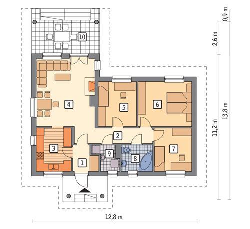 Rzut parteru POW. 85,7 m²