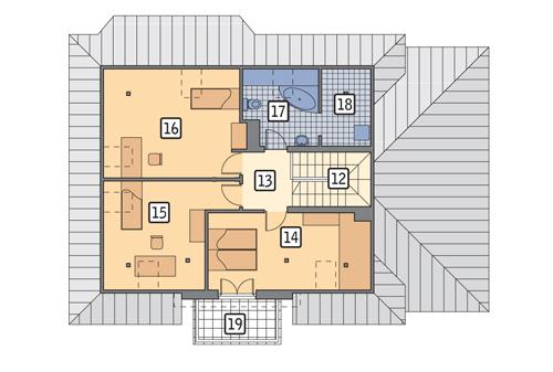 Rzut poddasza POW. 91,1 m²