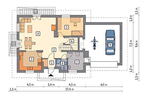 Rzut parteru POW. 116,1 m²