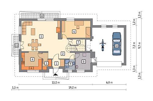 Rzut parteru POW. 130,5 m²