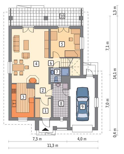 Rzut parteru POW. 92,3 m²