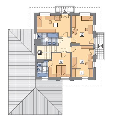 Rzut piętra POW. 99,6 m²