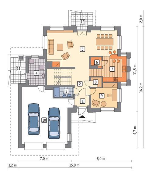 Rzut parteru POW. 134,3 m²