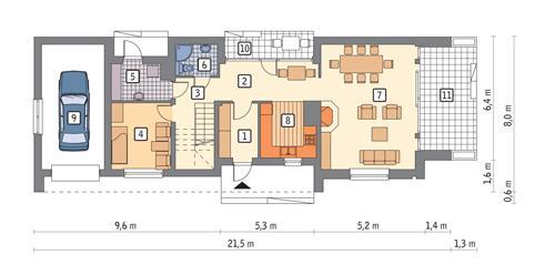 Rzut parteru POW. 102,4 m²