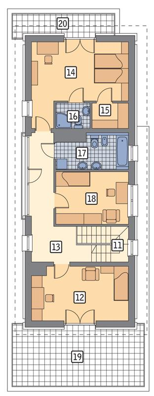 Rzut piętra POW. 106,5 m²