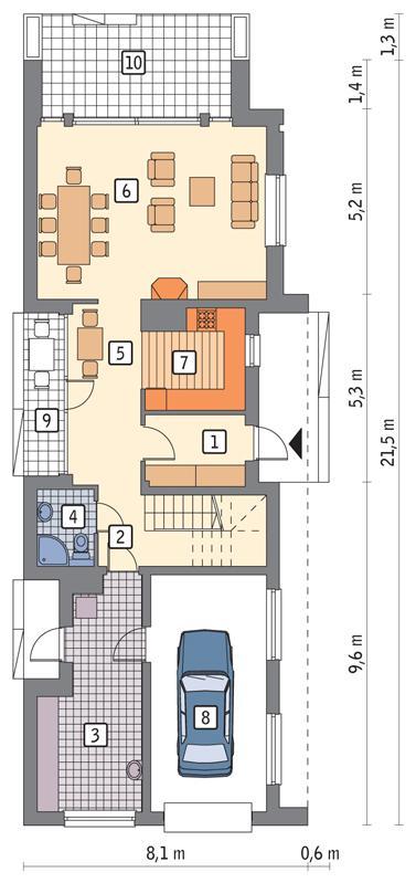 Rzut parteru POW. 103,1 m²